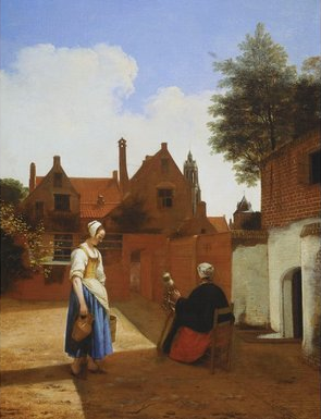 Pieter de Hooch's A Courtyard in Delft at Evening: A Woman Spinning, c 1657 (Her Majesty Queen Elizabeth II)