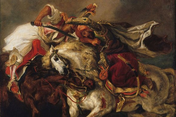Delacroix's Combat of the Giaour and Hassan, painted in 1835
