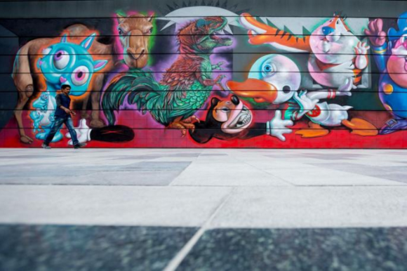 Ron English's mural of cartoon characters