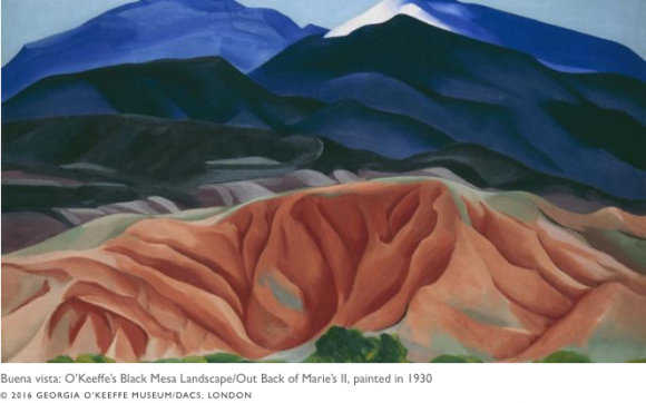 O'Keeffe's Black Mesa Landscape/Out Back of Marie's II, painted in 1930 © 2016 GEORGIA O'KEEFFE MUSEUM/DACS, LONDON