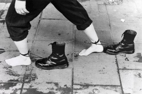 An image from her 1985 street performance Roadworks COURTESY KUNSTMUSEUM ST GALLEN, WHITE CUBE © MONA HATOUM